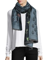 Alexander McQueen - Blue Reversible Skull Star & Floral Double-face Wool Scarf - Lyst