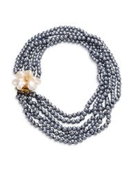 Kenneth Jay Lane | Gray 6 Rows Faux-pearl Flower Necklace | Lyst