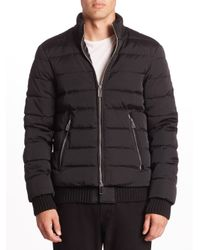 Emporio Armani | Black Technical Effect Puffer Bomber Jacket for Men | Lyst