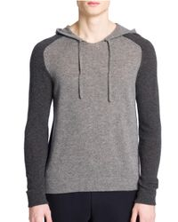 Emporio Armani | Gray Colorblock Hooded Cashmere Sweater for Men | Lyst
