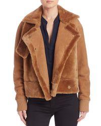 Tibi | Brown Shearling Aviator Jacket | Lyst