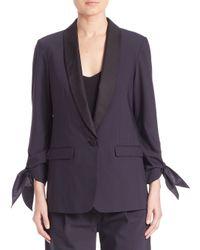 Tibi | Blue Tie-sleeve Tuxedo Jacket | Lyst