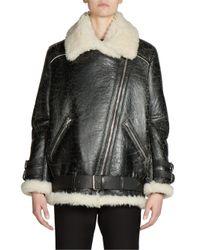 Acne   Multicolor Shearling & Leather Oversized Vintage Moto Jacket   Lyst