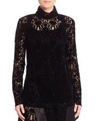 DKNY   Black Lace Turtleneck Top   Lyst