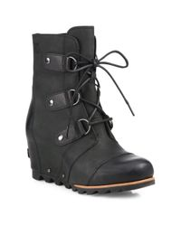 Sorel   Black Joan Of Arctic Leather Lace-up Boots   Lyst