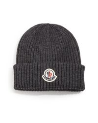 Moncler | Gray Ribbed Virgin Wool Beanie for Men | Lyst