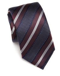 Saks Fifth Avenue | Blue Striped Silk Tie for Men | Lyst