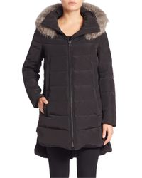 10 Crosby Derek Lam | Black Fox Fur-trim Down Puffer Jacket | Lyst