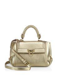 Ferragamo | Mini Sofia Metallic Leather Satchel | Lyst