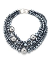 Kenneth Jay Lane | Gray Multi-strand Faux-pearl Necklace | Lyst