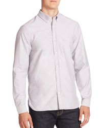 Burberry | Gray Long Sleeve Cotton Shirt for Men | Lyst