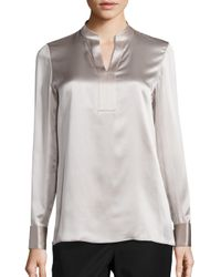 Lafayette 148 New York | Gray Diane Silk Charmeuse Blouse | Lyst