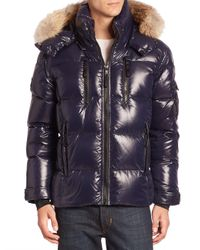Sam. | Blue Coyote Fur-trimmed Quilted Down Jacket for Men | Lyst