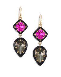 Alexis Bittar | Metallic Crystal, Pyrite Doublet & Ruby Corundum Drop Earrings | Lyst