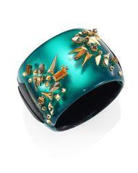 Alexis Bittar | Green Golden Studded Lucite Hinge Cuff Bracelet | Lyst