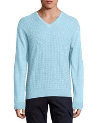 Saks Fifth Avenue | Blue Jacquard V-neck Wool & Silk Sweater for Men | Lyst