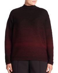 Lafayette 148 New York | Black Fine Gauge Wool Ombre Turtleneck Sweater | Lyst