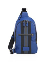 COACH | Blue Modern Varsity Stripe Campus Backpack for Men | Lyst