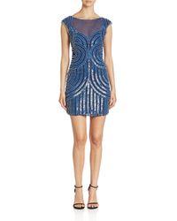 Parker Black | Blue Boatneck Cap Sleeve Illusion Dress | Lyst