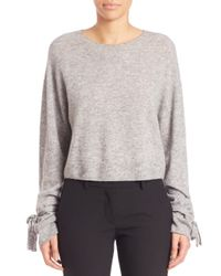 Helmut Lang | Gray Cropped Merino Wool Blend Pullover | Lyst