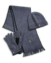Polo Ralph Lauren | Gray Three-piece Merino Wool Scarf, Beanie & Gloves Set | Lyst