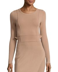 Kendall + Kylie - Natural Compact Crop Long Sleeve Top - Lyst