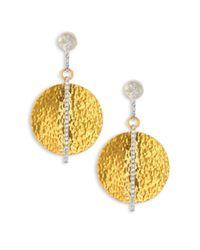 Gurhan | Metallic Lush Diamond, 24k Yellow Gold & 18k White Gold Drop Earrings | Lyst