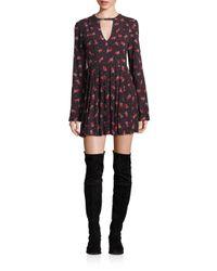 Free People | Black Tegan Floral-print Mini Dress | Lyst