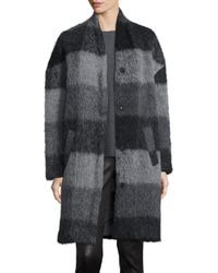 Eileen Fisher | Blue Check Cocoon Coat | Lyst