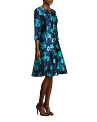 Oscar de la Renta | Blue Belted Floral-print Mikado Dress | Lyst
