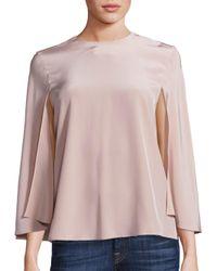Tibi | Pink Silk Cape Top | Lyst