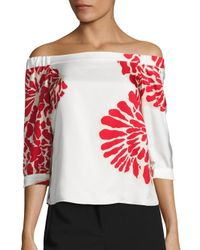 Tibi | Multicolor Orla Bloom Silk Off-the-shoulder Top | Lyst