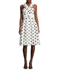 Monique Lhuillier | White Silk Dot Halter Dress | Lyst
