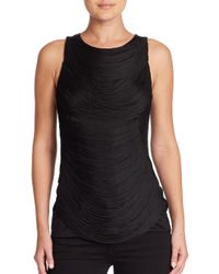 Ralph Lauren Collection | Black Sleeveless Draped Fringe Top | Lyst