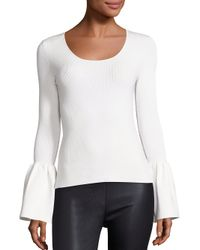 Elizabeth and James | White Willow Bell Sleeve Ribbed Top | Lyst