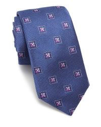 Ike Behar | Blue Floral Pattern Silk Tie for Men | Lyst
