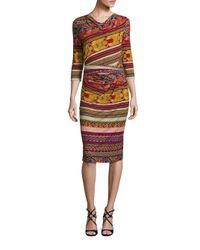 Etro | Red Three-quarter Sleeve Printed Jersey Dress | Lyst