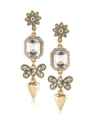 ABS By Allen Schwartz | Metallic Linear Crystal Drop Earrings | Lyst