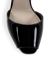 Prada   Black Patent Leather Cutout Heart Wedge Sandals   Lyst