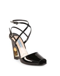 Prada | Black Patent Leather Cutout Heart Wedge Sandals | Lyst