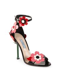 Prada | Floral-embroidered Patent Leather Ankle-strap Sandals | Lyst