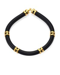 Lizzie Fortunato | Black Double Take Leather Tube Necklace | Lyst