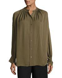 VINCE | Green Shirred Silk Blouse | Lyst