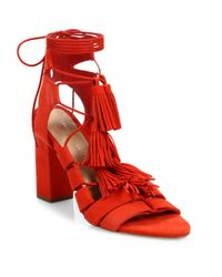 Loeffler Randall | Multicolor Luz Tassel Suede Ankle-tie Block Heel Sandals | Lyst