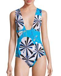 Emilio Pucci | Blue One-piece Parasol Print Swimsuit | Lyst