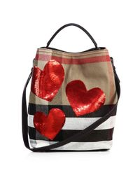 Burberry - Red Ashby Medium Sequin Heart & House Check Bucket Bag - Lyst
