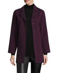 Eileen Fisher | Purple Wool-blend Swing Coat | Lyst