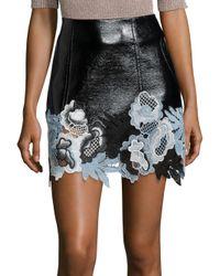 3.1 Phillip Lim | Black Floral Lace Hem Vinyl Skirt | Lyst