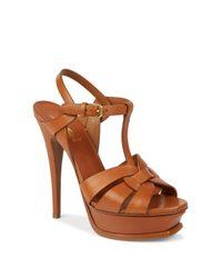 Saint Laurent   Brown Tribute Leather Platform Sandals   Lyst