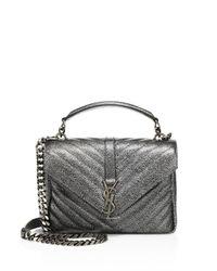 Saint Laurent | Medium College Monogram Metallic Leather Shoulder Bag | Lyst
